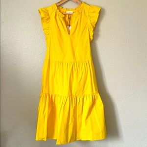 A Loves A Tiered Ruffle Dress, Yellow, Size L
